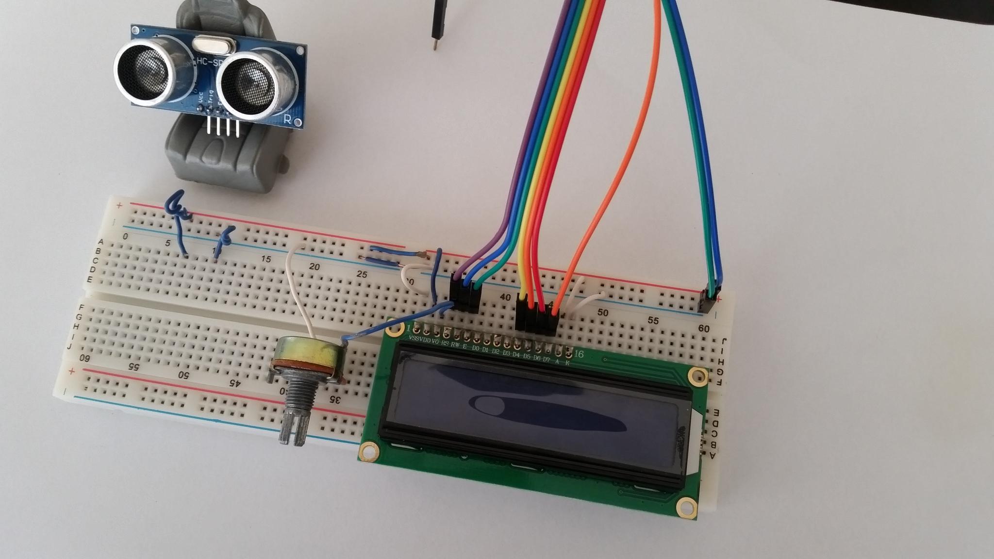 Arduino uno ile hc sr ve lcd ekran kullanarak mesafe