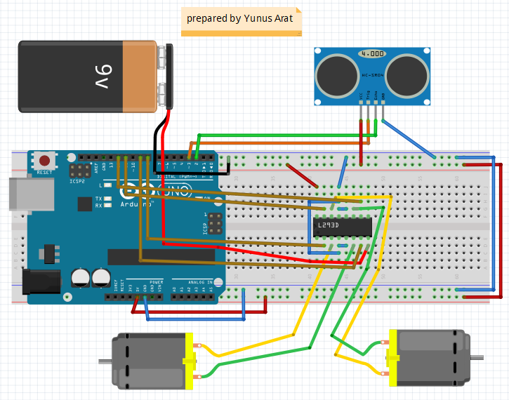 Arduino ile engelden kaçan robot yapımı roboturka