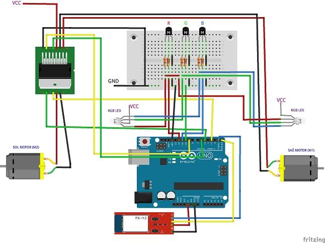 Arduino ile bluetooth kontrollü ollie benzeri araç