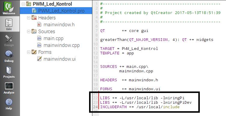 QT Creator ve WiringPi ile Raspberry Pi de PWM kontrol